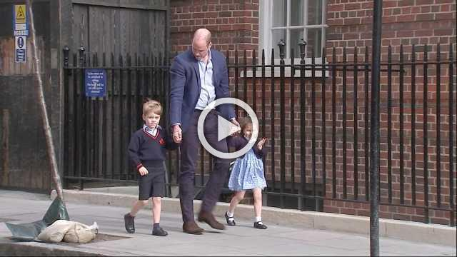 Prince William brings children to see their newborn brother