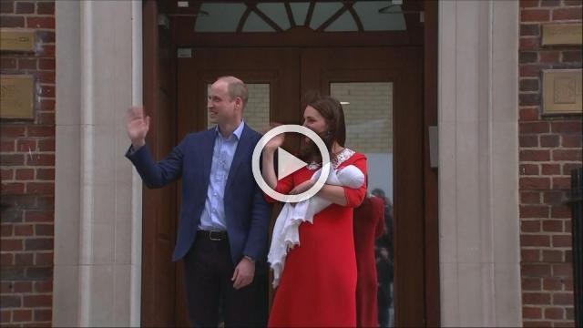 Crowd erupts as Kate, Will present newborn son