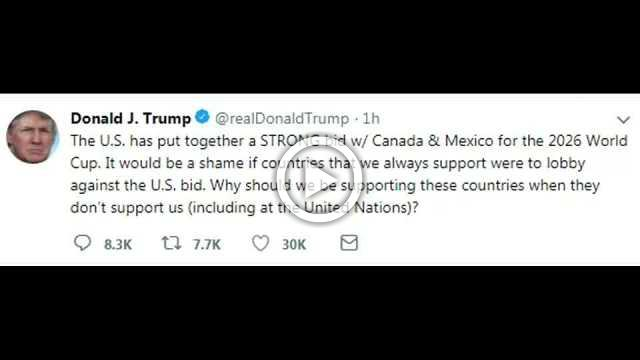 Trump tweets his support for North American 2026 World Cup bid