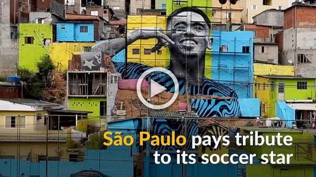Brazil's Gabriel Jesus gets massive mural in Sao Paulo favela