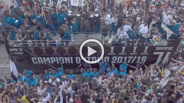 Juventus parade through Turin to celebrate League and Cup double