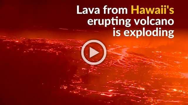Hawaii's Kilauea volcano shoots lava into the ocean