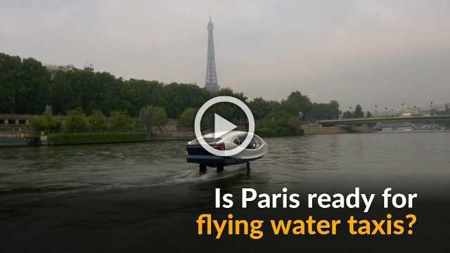 Flying water taxi takes to Seine River in Paris