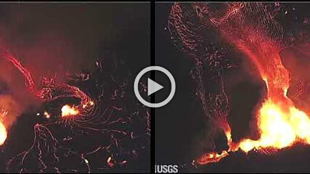 Dramatic footage from Hawaii shows lava streaming towards ocean
