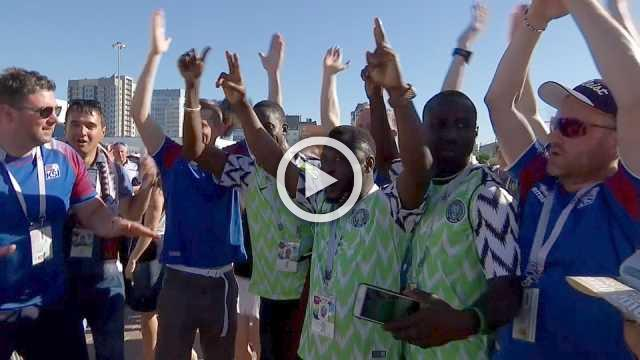 Party time for Iceland and Nigeria fans as they arrive for match