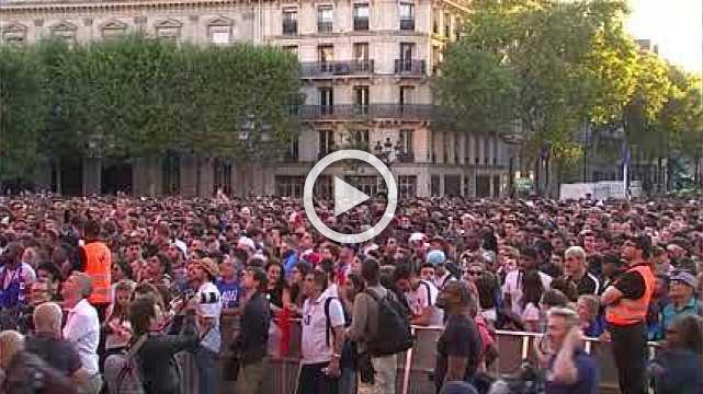 France fans celebrate World Cup semi-final win over Belgium in Paris fan zone