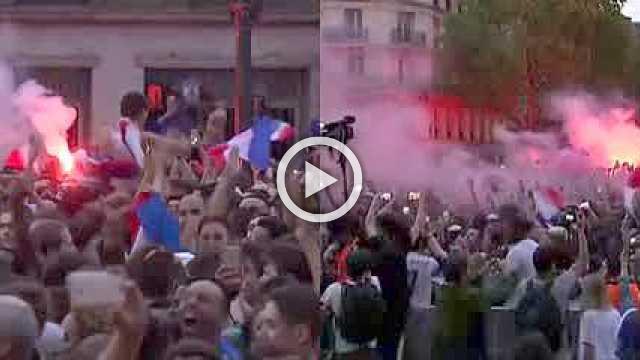 France fans celebrate World Cup semi final win over Belgium
