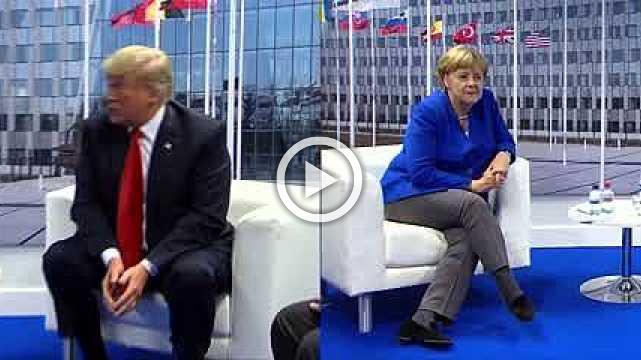 Trump meets Merkel at NATO after slamming Germany