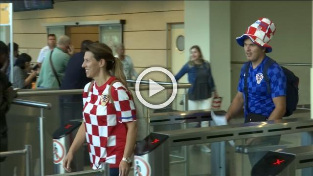 England and Croatia fans arrive at Moscow airport ahead of semi final