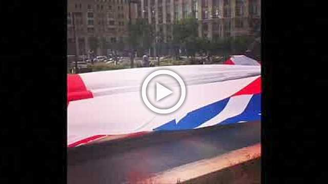 Croatia fans display 'Thank you, Russia' flag in Moscow