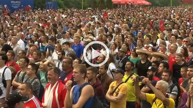 Belgium fans celebrate victory over England
