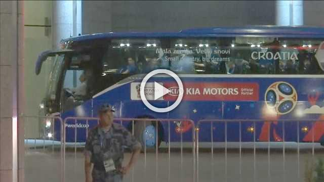 Croatia bus arrives back at hotel after final defeat