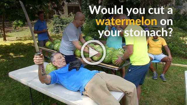 Cut above the competition: New York man slices through watermelons in world record