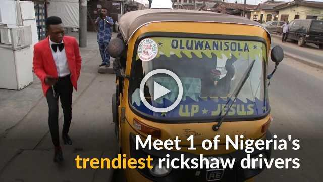 Is this the best dressed rickshaw taxi driver in Nigeria?