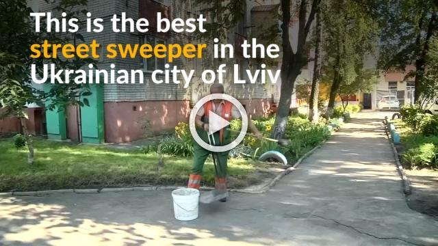 Ukrainian sweeper gets free Europe tour for keeping city clean