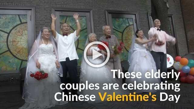 Elderly couples take wedding photos on Chinese Valentine's Day