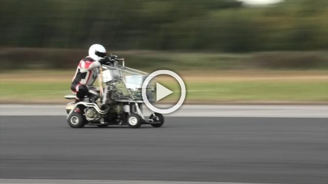 Jet-powered shopping trolley, motorised toilet let rip in speed trials