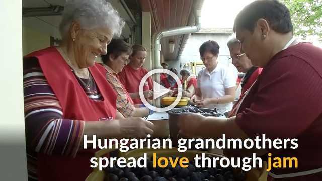 Hungarian grandmothers make plum jam to help poor families