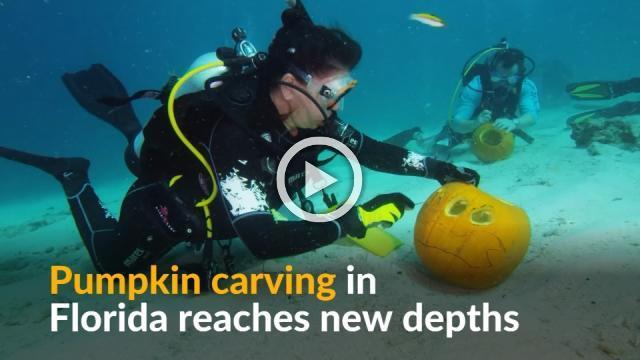 Pumpkin carving reaches new depths in underwater contest