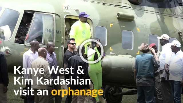 Kim and Kanye donate sneakers to Ugandan orphanage children