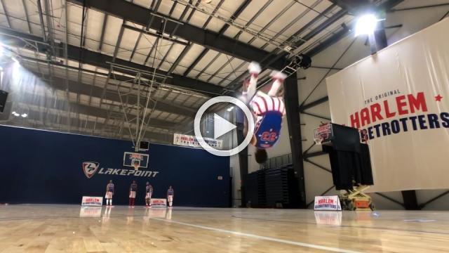 Backflip basket earns world record for Harlem Globetrotter's Bullard