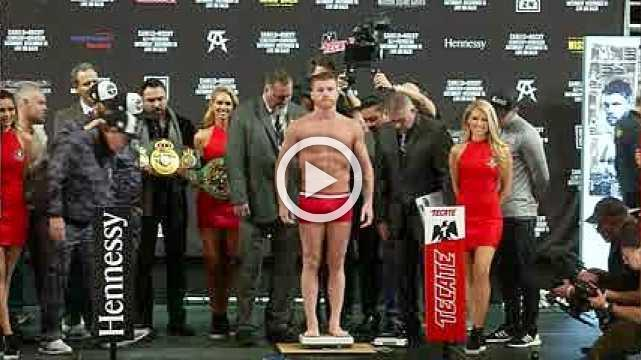 Canelo Alvarez and Rocky Fielding weigh-in for title fight
