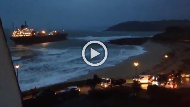 Russian cargo ship runs aground off southwest England