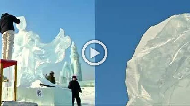 Artists carve icy masterpieces for contest at Harbin ice festival