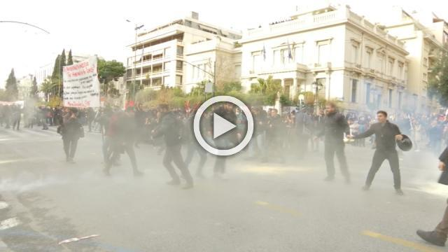 Greek police face off with anti-government protesters