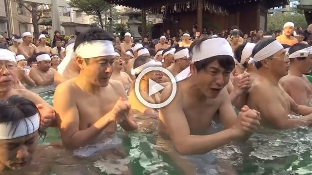 Japanese plunge into ice bath at Tokyo's shrine in purification ritual for New Year