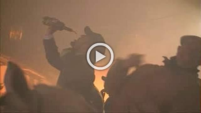 Horses jump through roaring flames at Spanish festival
