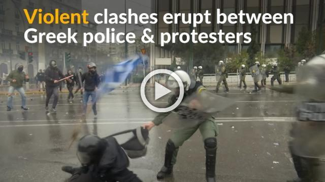 Greek police fire tear gas at protesters