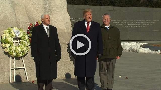 Trump lays wreath at MLK Memorial