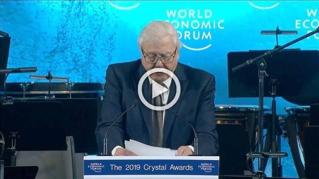 Sir David Attenborough receives Crystal Awards honour in Davos