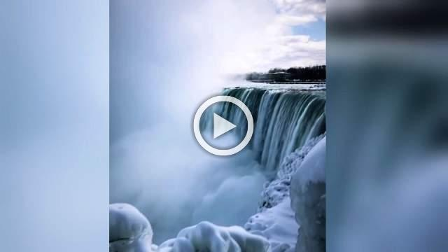Stunning video captures icy Niagara Falls