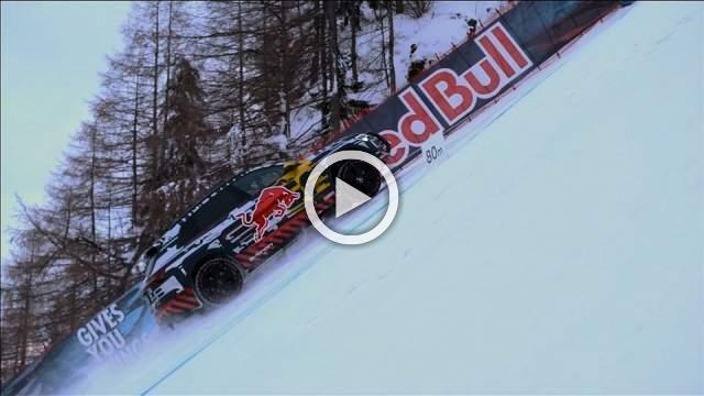 Former World Rallycross champion climbs infamously steep ski slope in electric car
