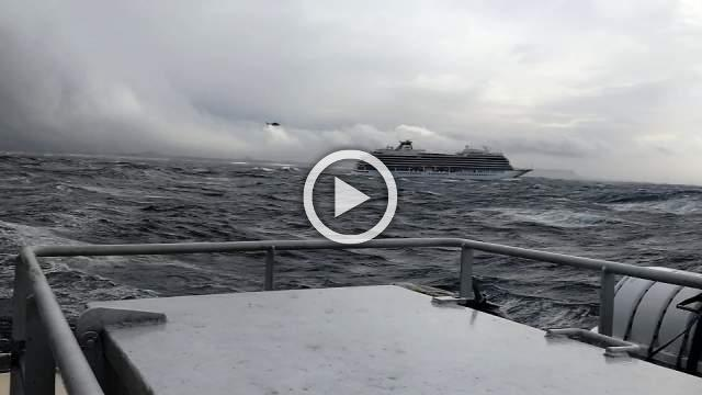 Passengers airlifted from cruise ship stranded off Norway - UGC