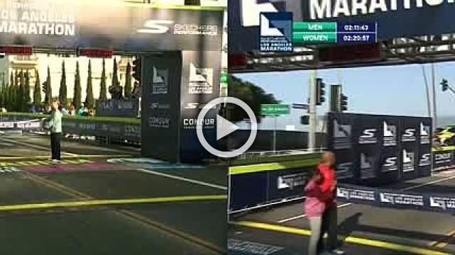 Barno wins L.A. Marathon in last minute surge, Merachi sets course record