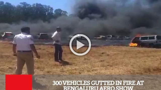 300 Vehicles Gutted In Fire At Bengaluru Aero Show