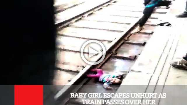 Baby Girl Escapes Unhurt As Train Passes Over Her
