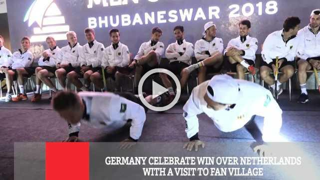 Germany Celebrate Win Over Netherlands With A Visit To Fan Village