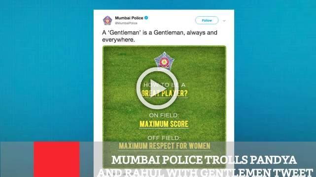 Mumbai Police Trolls Pandya And Rahul With Gentlemen Tweet