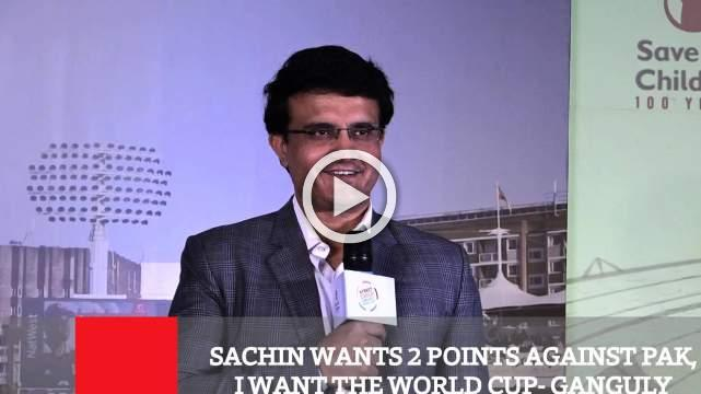 Sachin Wants 2 Points Against Pak, I Want The World Cup - Ganguly