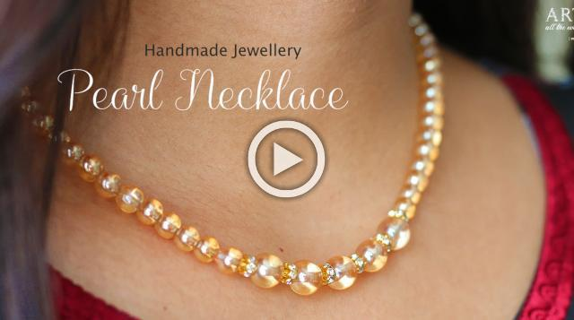 How to make Pearl Beaded Necklace | Handmade Jewellery | Pearl Necklace At Home