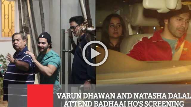 Varun Dhawan And Natasha Dalal Attend Badhaai Ho's Screening