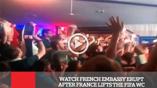 Watch French Embassy Erupt After France Lifts The FIFA WC