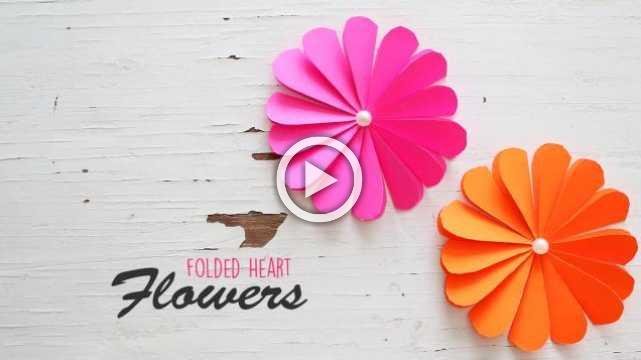 DIY Folded Heart Flowers