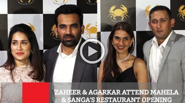 Zaheer & Agarkar Attend Mahela & Sanga's Restaurant Opening