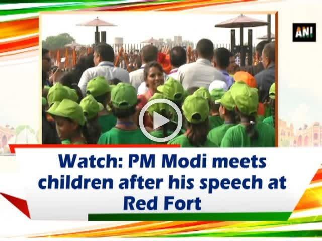 Watch: PM Modi meets children after his speech at Red Fort