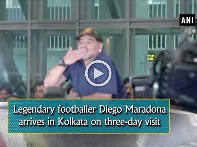Legendary footballer Diego Maradona arrives in Kolkata on three-day visit